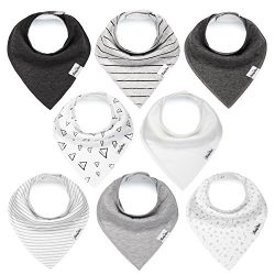 Baby Bandana Drool Bibs for Boys and Girls, Unisex 8 Pack Bib Set with Snaps for Drooling, Teeth ...