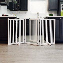 WELLAND Freestanding Wood Pet Gate with Walk Through Door White, 66-Inch Width, 32-Inch Height ( ...