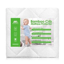 Adoric Crib Mattress Protector Waterproof Baby Mattress Pad Cover, Natural Bamboo, Ultra Soft, B ...