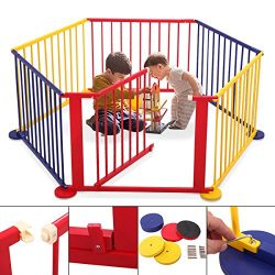 JAXPETY Baby Playpen Kids Safety Play Center Yard Home Indoor Outdoor New Pen (6, Multicolour)