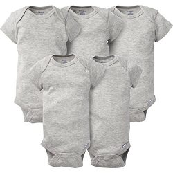 Gerber Baby 5-Pack Solid Onesies Bodysuits, Gray 0-3 Months