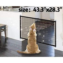 Magic Gate for Dogs 43.3″x28.3″,Baby Safety Gates Pet Safety Gate,Portable Folding S ...