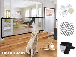 70.9″x28.3″Magic Gate for Dogs, Pet Gate,Magic Gate Portable Folding mesh gate Safe  ...