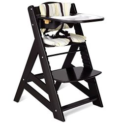 Costzon Wooden Highchair, Baby Dining Chair with Adjustable Height, Removable Tray, 5-Point Safe ...