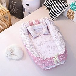 Ukeler Portable Baby Co-Sleeping Cribs & Cradles Lounger Cushion, Baby Bassinet for Bed with ...