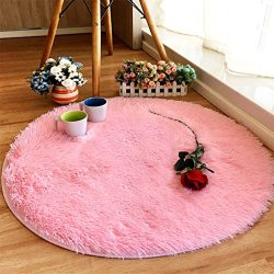 moonrug Super Soft Nursery Rug Anti-Skid Fluffy Round Children Area Rug for Bedroom Kids Room Wo ...