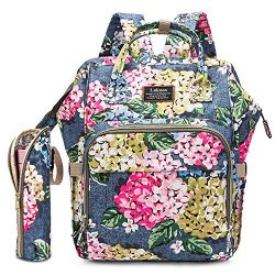 Diaper Bag Backpack Floral Baby Bag Water-Resistant Baby Nappy Bag with Insulated Water Bottle B ...