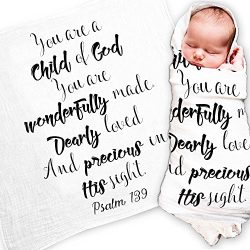 Ocean Drop Designs – White Muslin Baby Swaddle Blanket – Psalm 139 'Child Of God' Qu ...