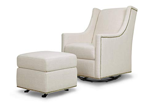 Million Dollar Baby Classic Harper Swivel Glider with Gliding Ottoman, White Linen