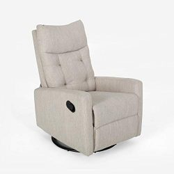 Christopher Knight Home 308985 Ishtar Glider Swivel Push Back Nursery Recliner Beige, Black