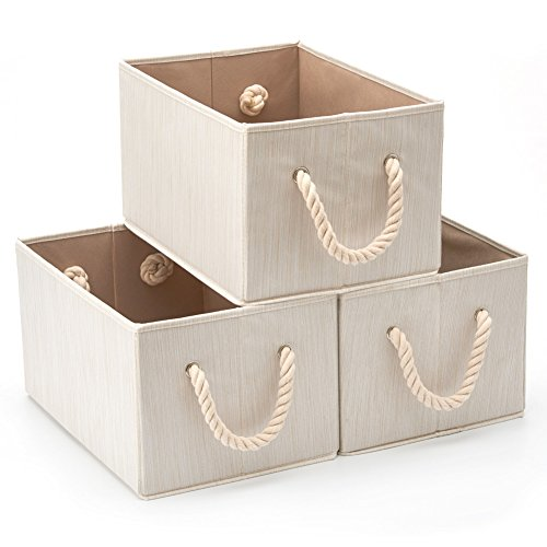 Pack of 3 EZOWare Bamboo Large Fabric Storage Bins Organizer with Cotton Rope Handle, Collapsibl ...