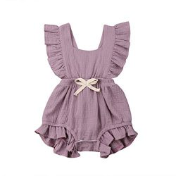 ITFABS Newborn Baby Girl Romper Bodysuits Cotton Flutter Sleeve One-Piece Romper Outfits Clothes ...