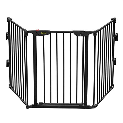 Bonnlo 73-Inch Configurable Walk-Through Baby Safety Gate Adjustable Metal Barrier/Fence for Tod ...