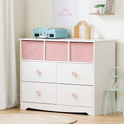 South Shore 11865 Sweet Piggy 4-Drawer Dresser with Baskets, White and Pink