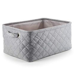 MEÉLIFE Storage Basket Foldable Cotton Fabric Tweed Storage Boxes with Handles, for Organizing C ...