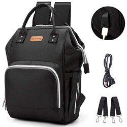 Diaper Bag Backpack, hopopower Diaper Bag with USB Charging Port for Mom & Dad, Large Multif ...
