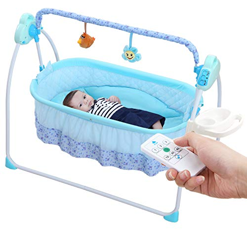 WBPINE Electric Baby Cradle Swing, Automatic Bassinet Swing Crib for Baby Boy and Girl with Musi ...