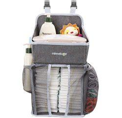 Minnebaby Baby Nursery Organizer and Diaper Caddy Organizer, Hanging Changing Table Diaper Stack ...