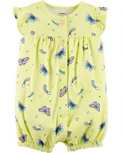 Carter's Baby Girls' Ground Rainbow Snap Up Cotton Romper (9 Months, Yellow Butterfly)