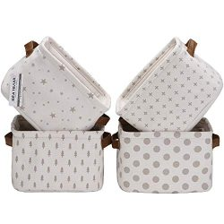 Sea Team Foldable Mini Square New Grey and White Theme 100% Natural Linen & Cotton Fabric St ...