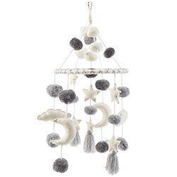 Mud Pie Pom Pom Stars and Clouds Celestial Crib Mobile – White and Grey, White/Grey