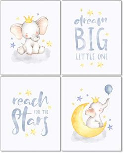 Confetti Fox Elephant Dream Big Baby Nursery Wall Art Decor – 8×10 Unframed Set of 4  ...
