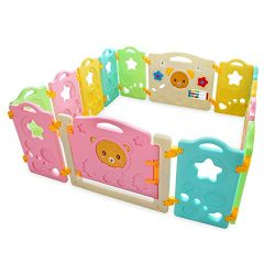 14 Panel Safety Play Yard for Kids Toddler Baby, Colorful Cute Kids Playpen with Gate & Safe ...