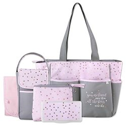 Diaper Bag Tote 5 Piece Set with Sun, Moon, and Stars, Wipes Pocket, Dirty Diaper Pouch, Changin ...