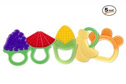 Baby Teething Toys (5 Count) | FDA-Approved Soft Silicone Fruit Teethers for Babies | Fridge &am ...