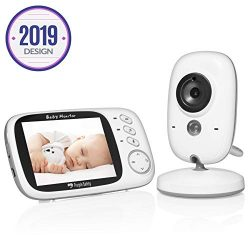 Purple Safety Video Baby Monitor with Camera and Audio, Night Vision, Long Range, Temperature, L ...