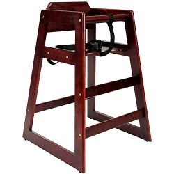 Wooden high Chair for Babies, Infants and Toddlers + highchair Safety Straps, for Restaurant and ...