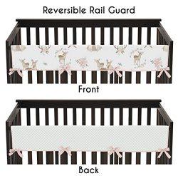 Sweet Jojo Designs Blush Pink, Mint Green and White Boho Long Front Crib Rail Guard Baby Teethin ...