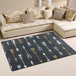 WellLee Area Rug,Geometric Tribal Arrow Floor Rug Non-slip Doormat for Living Dining Dorm Room B ...