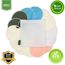 Nursing Pads for Breastfeeding (14 Pack) – Organic Bamboo Reusable Breast Pads – Sof ...