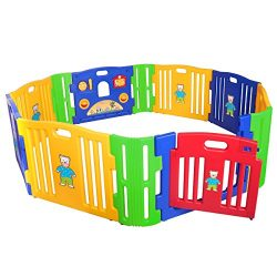 JAXPETY Baby Playpen Kids 8+4 Panel Safety Play Center Yard Home Indoor Outdoor New Pen (Blue &a ...
