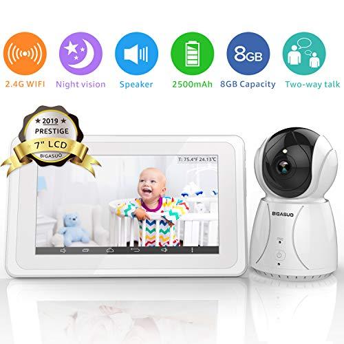 BIGASUO Upgrade Baby Monitor, Video Baby Monitor 7″ Large LCD Screen, Baby Monitors with C ...