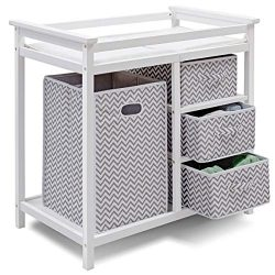 Costzon Baby Changing Table, Diaper Storage Nursery Station with Hamper and 3 Baskets (White+Gray)