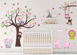 DEKOSH Kids Pink Jungle Theme Peel & Stick Girl Nursery Wall Decal, Colorful Owl Giraffe Lio ...