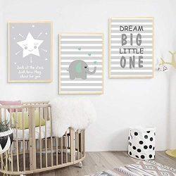 UrbanStyle Boutique Premium Nursery Print Canvas Art (Set of 3-UNFRAMED) 12″ x 16″-E ...