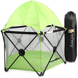 Baby Pack and Play Playpen Yard: Portable Travel Play Pen for Babies (Green – with Canopy)