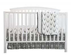 Baby Boy Crib Bedding White Grey Woodland Arrow Antlers Deer Head Minky Blanket Navy Crib Sheet  ...