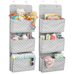 mDesign Soft Fabric Wall Mount/Over Door Hanging Storage Organizer – 3 Large Pockets for C ...