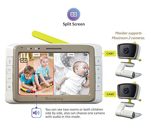 MoonyBaby Split Screen, Wide Angle, Two Cameras System Video Baby Monitor with 5″ LCD, Aut ...