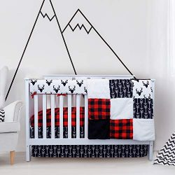 Crib Bedding Sets for Boys – 4 Piece Woodland Set for Baby boy Rustic Nursery Decor | Quil ...