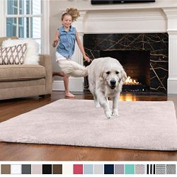 GORILLA GRIP Original Faux-Chinchilla Nursery Area Rug, (4′ x 6′) Super Soft & C ...