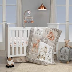 Lambs & Ivy Painted Forest 4-Piece Crib Bedding Set – Gray, Beige, White