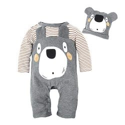 BIG ELEPHANT Baby Boys' 1 Piece Cute Animal Long Sleeve Romper Jumpsuit with Hat (18-24 Mo ...