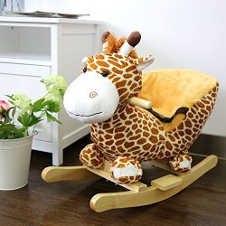 Kinbor Baby Kids Toy Plush Rocking Horse Little Giraffe Theme Style Riding Rocker with Sound, Se ...