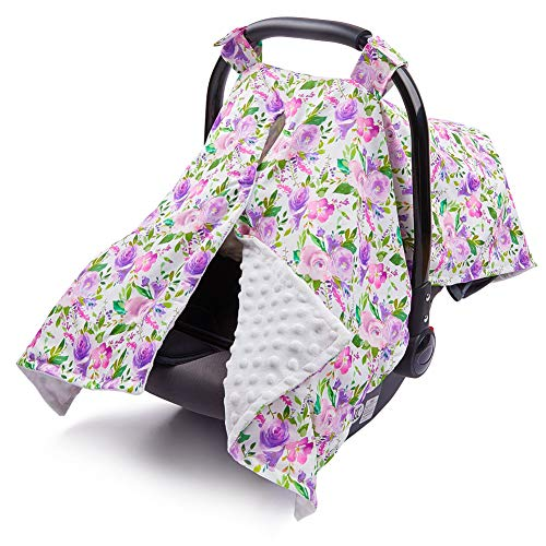 ICOSY Carseat Canopy Cover Floral | Soft Infant Nursing Cover with Peekaboo Opening Baby Strolle ...