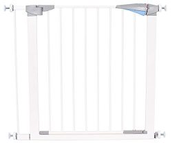 Safety Pet Gate with Door | Fits Spaces 27.5 to 30 Inch | Small | Metal Walk Through Safety Gate ...